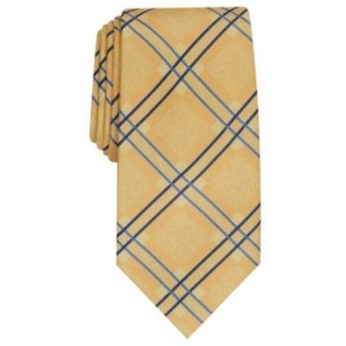 Perry Ellis Men's Denner Classic Plaid Tie Gold Size Regular