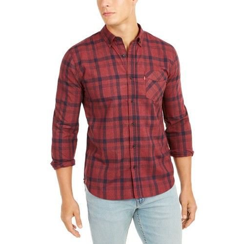 Levi's Men's Reese Plaid Shirt Dark Red Size Extra Large