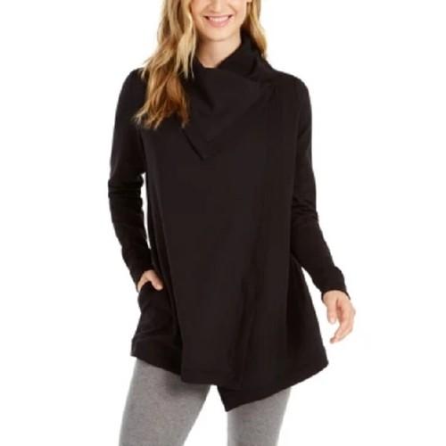 Ideology Women's Snap-Front Wrap Black Size XX-Large