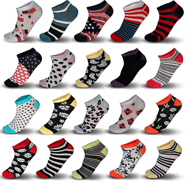 20-Pair Mystery Deal: Women's Breathable Fun/Funky No Show Ankle Socks
