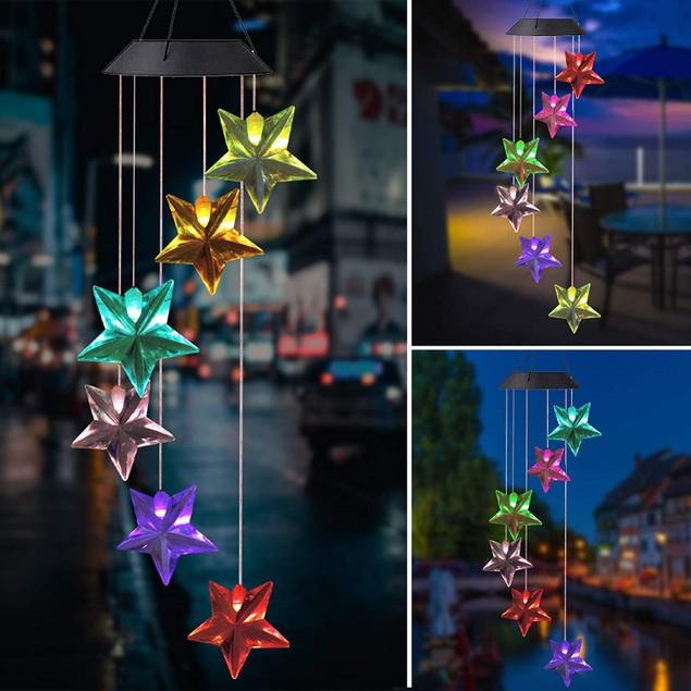 LED Solar Wind Chime Light Crystal Color-Changing Star Garden Decor Light