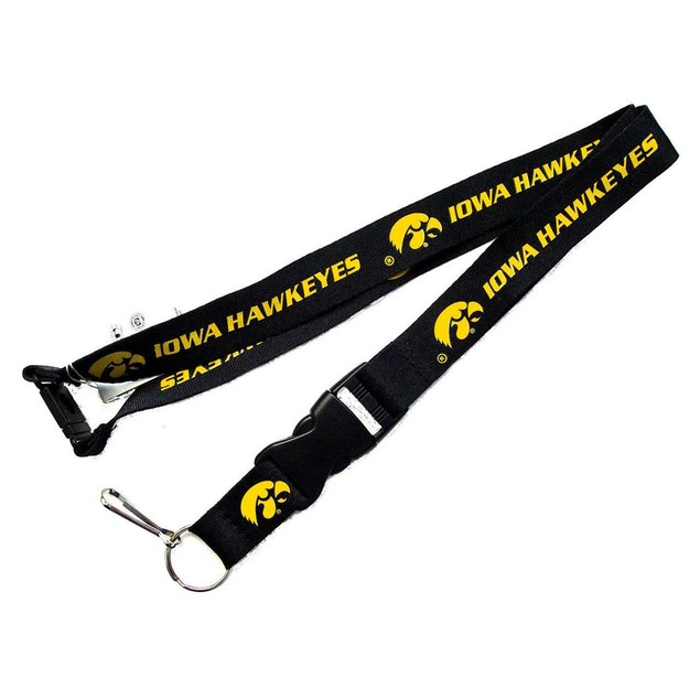 Iowa Hawkeyes Clip Lanyard Keychain Id Holder Ticket - Black