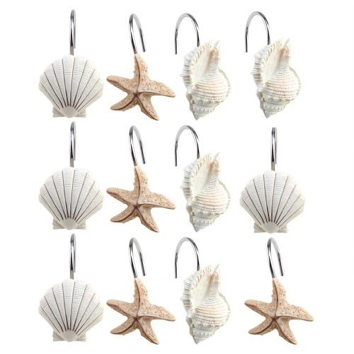 12 PCS DECORATIVE Seashell Shower Curtain Hooks Bathroom Beach Shell Decor