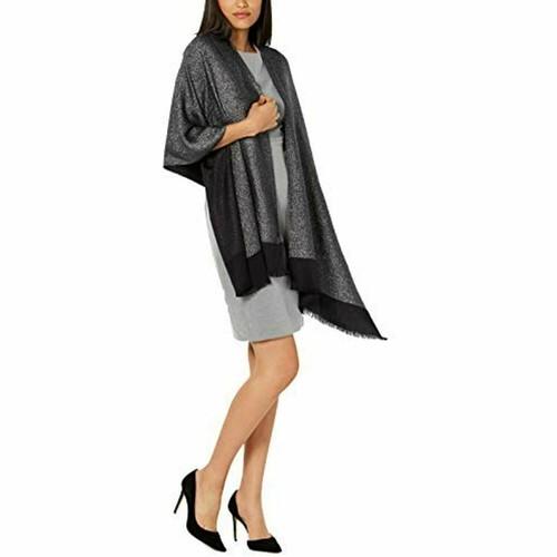 INC International Concepts Women's Ombre Shine Pashmina Black Size Regular