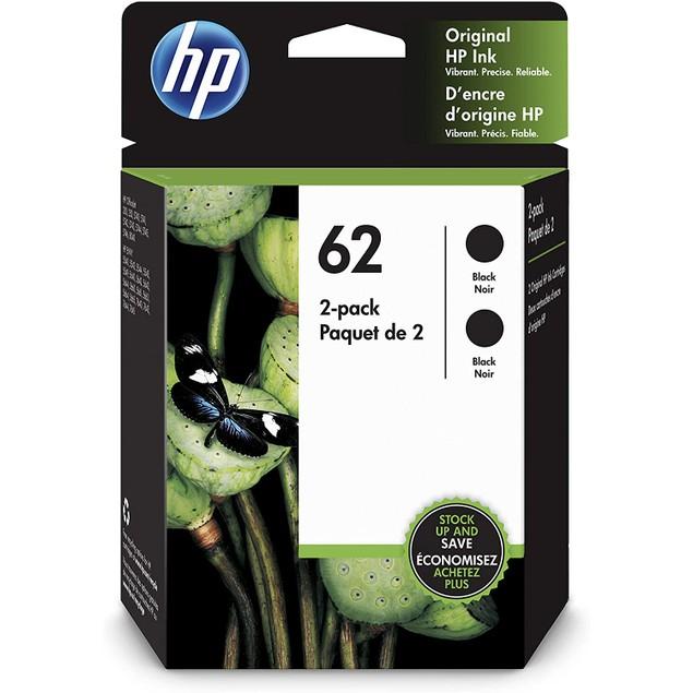 HP 62 | 2 Ink Cartridges | Works with HP ENVY 5500 Series, 5600 Series, 7600 Series, HP Officejet 200, 250, 258, 5700 Series, 8040 | Black | C2P04AN