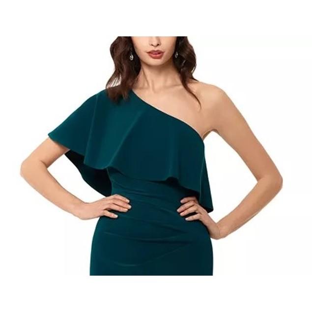 Xscape Women's One-Shoulder Ruffle Dress Med Green Size 14