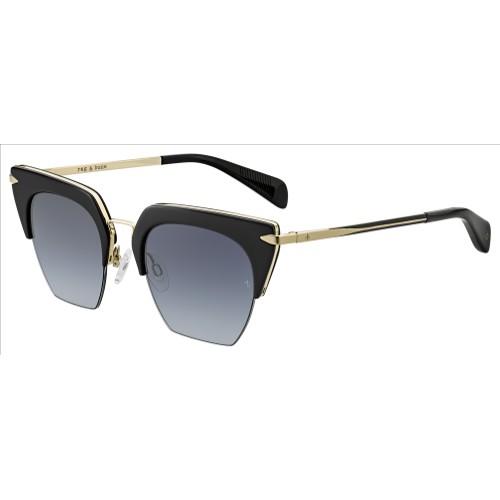 Rag & Bone Women Sunglasses RNB1007S Black/Gold 51 21 145 Browline Gradient