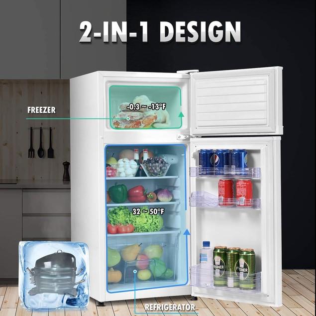 Costway 2 Doors 3.4 cu ft. Unit  Compact Mini Refrigerator Freezer Cooler