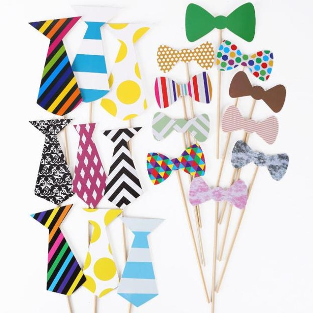 76pcs DIY Photo Booth Props Moustaches On A Stick For Wedding Party