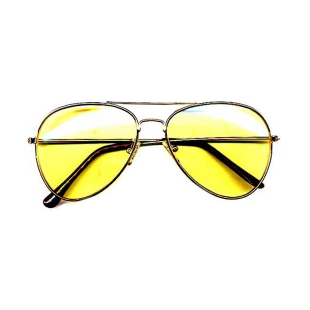 Yellow Lens Gold Frames Sunglasses