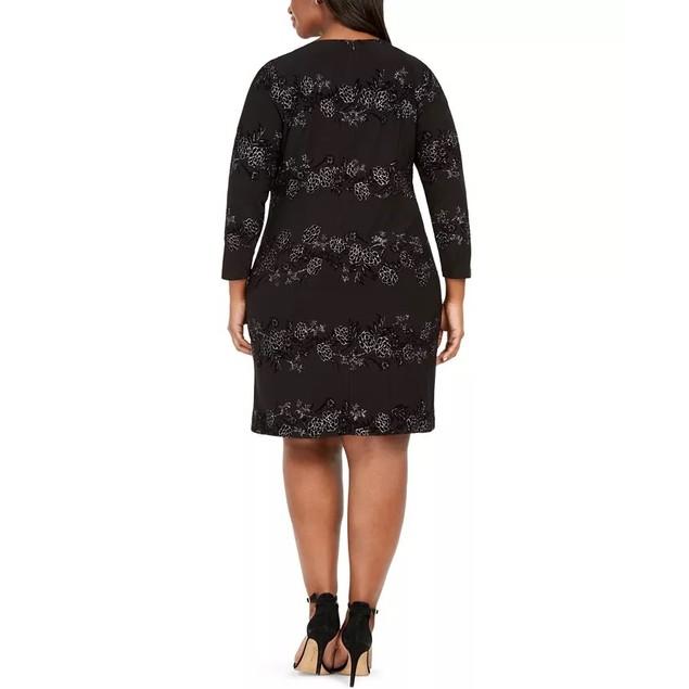 Jessica Howard Women's Plus Size Sparkle Floral Dress Black Size 22