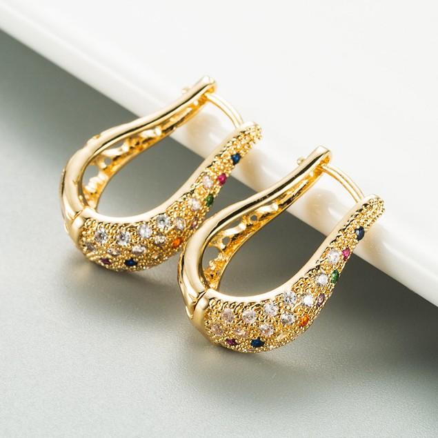 Victorian Gold English Lock Colorful Zircon Earrings