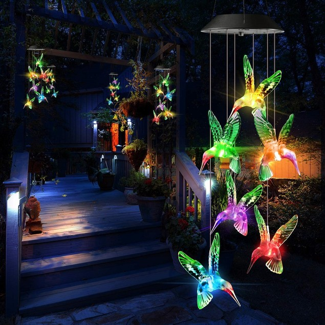 LED Solar Power Color-Changing Hummingbird Wind Chime Garden Hanging Light