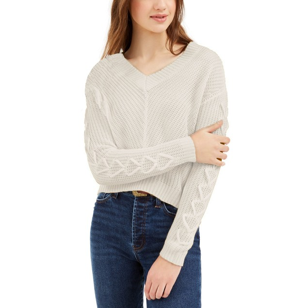 Almost Famous Juniors' Lace-Up Sweater white Size Medium