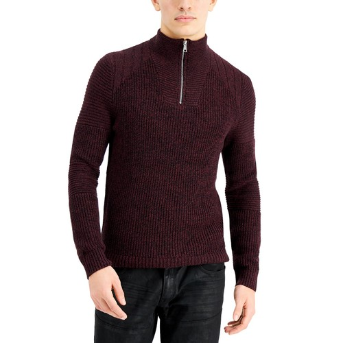 INC International Concepts Men's Quarter-Zip Sweater Purple Size Small
