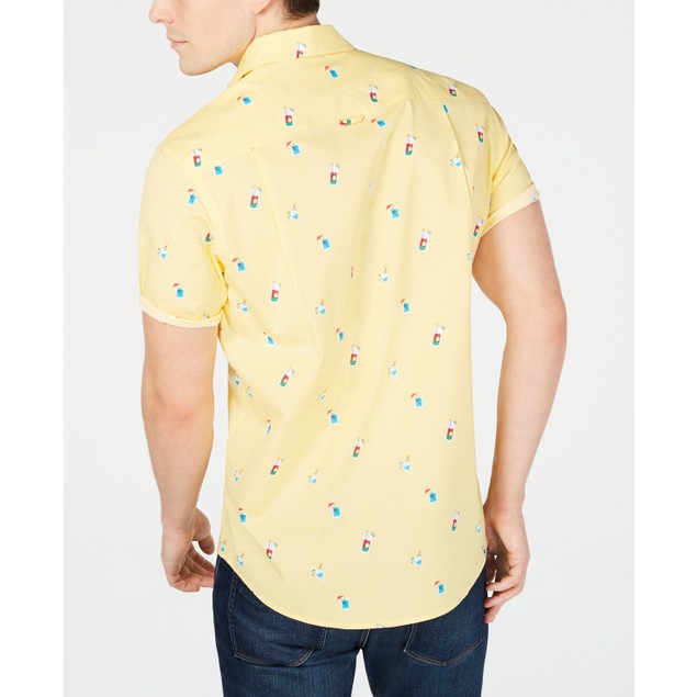 Club Room Men's Cocktail-Print Shirt Yellow Size Small