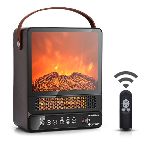 Costway 1500W Electric Fireplace Tabletop Portable Space Heater w/ 3D Flame