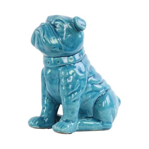 Urban Trends Ceramic Sitting British Bulldog Figurine with Collar Turquoise