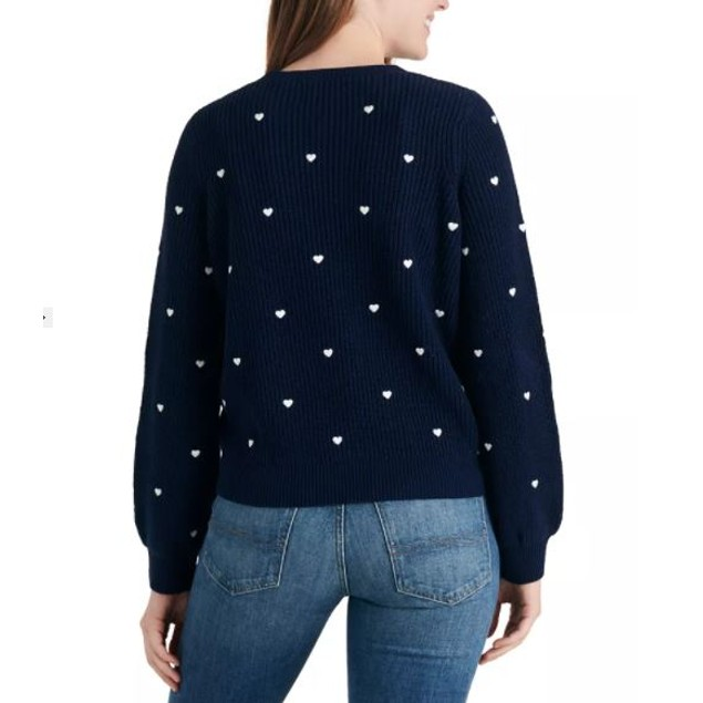 Lucky Brand Women's Embroidered Heart Sweater Blue Navy Size X-Large