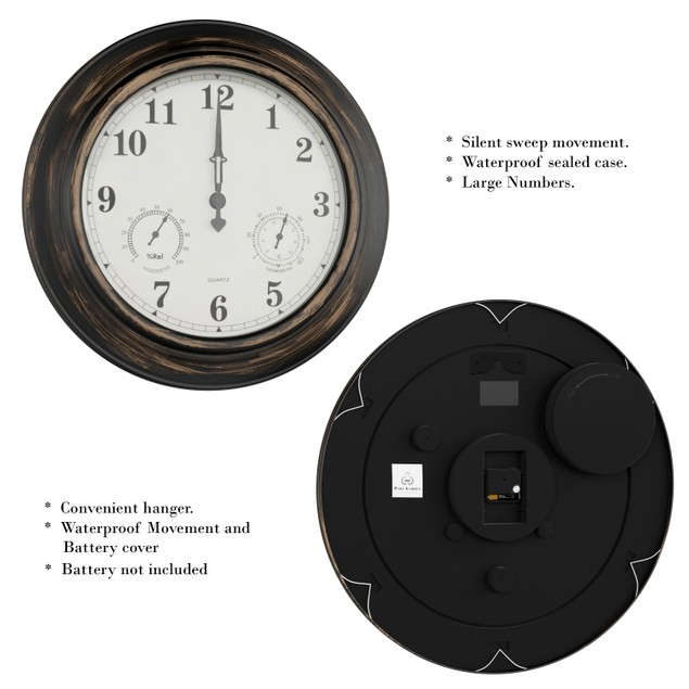 Wall Clock Thermometer-Indoor Outdoor Decorative 18 in.