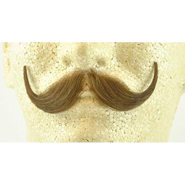 Light Grey Handlebar Moustache 100% Human Hair Handle Bar Costume Adult