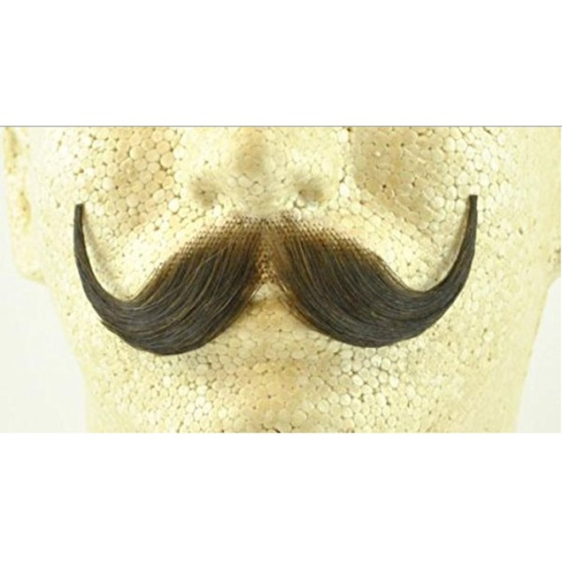 Brown Handlebar Moustache 100% Human Hair Handle Bar Costume Accessory
