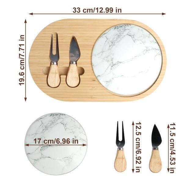 BIGTREE Bamboo Cheese Board Knife Set