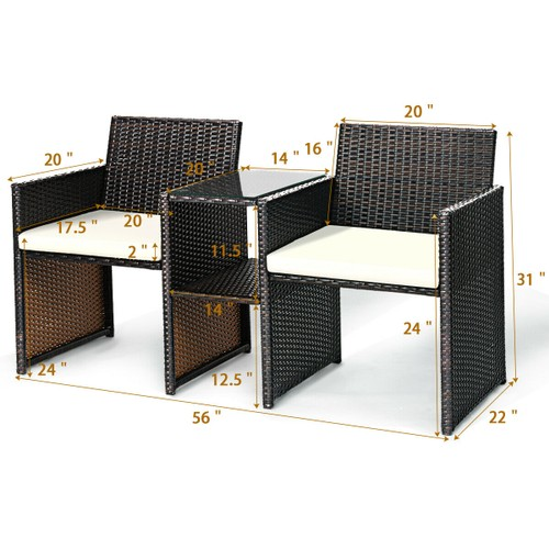Costway Patio Rattan Loveseat Table Chairs Chat Set Seat Sofa Conversation