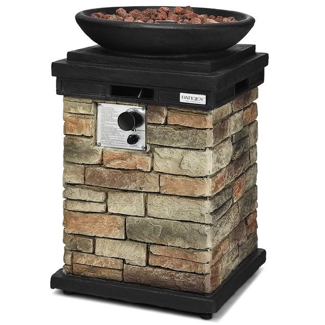 Patio Propane 40,000 BTU Burning Fire Bowl Column W/ Lava Rocks & Cover