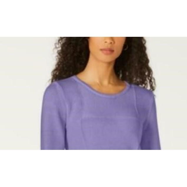 Karen Scott Women's Patchwork-Stitch Pullover Sweater Purple Size Small