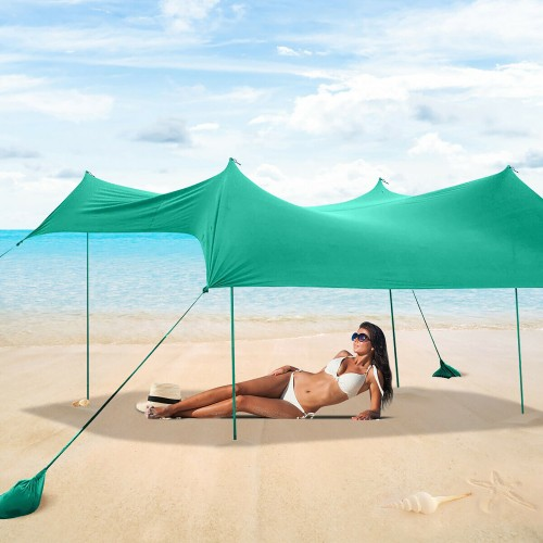 Costway Family Beach Tent Canopy w/ 4 Poles Sandbag Anchors 7'x7' UPF50+ Gr