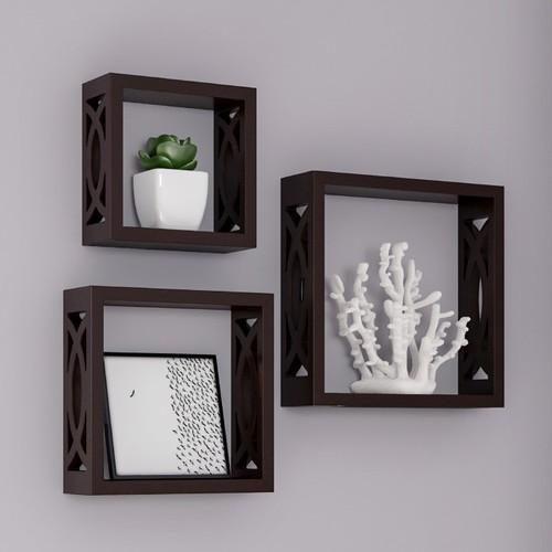 Brown Floating Shelves- Open Cube Wall Shelf Set with Hidden Brackets