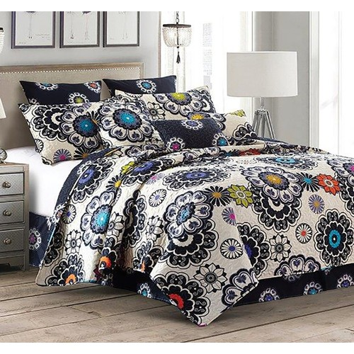 2PC Nadira Printed Quilt King/Queen Size Polyester Bed Sheet 2 Shams Set