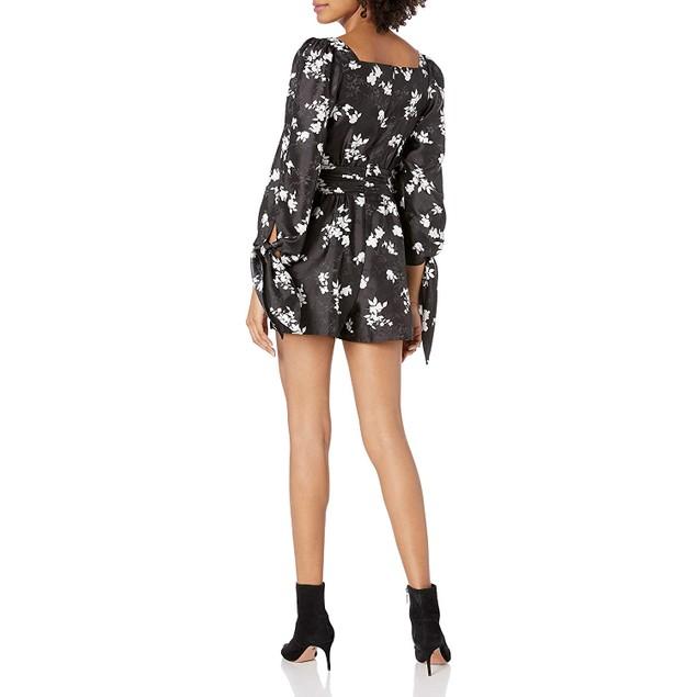 Ali & Jay Women's Long Sleeve Printed Romper, Large, Black Floral