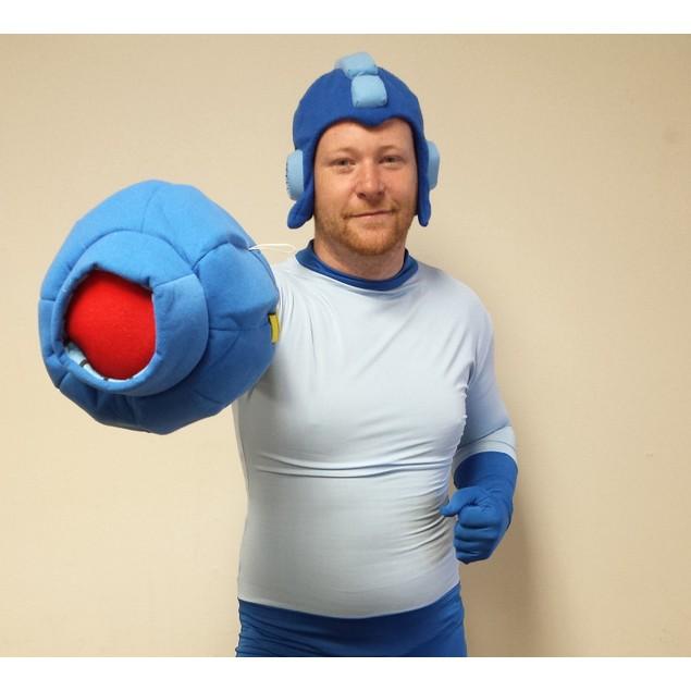 Mega Man Adult Costume Spandex Body Suit With Buster Glove & Helmet Megaman
