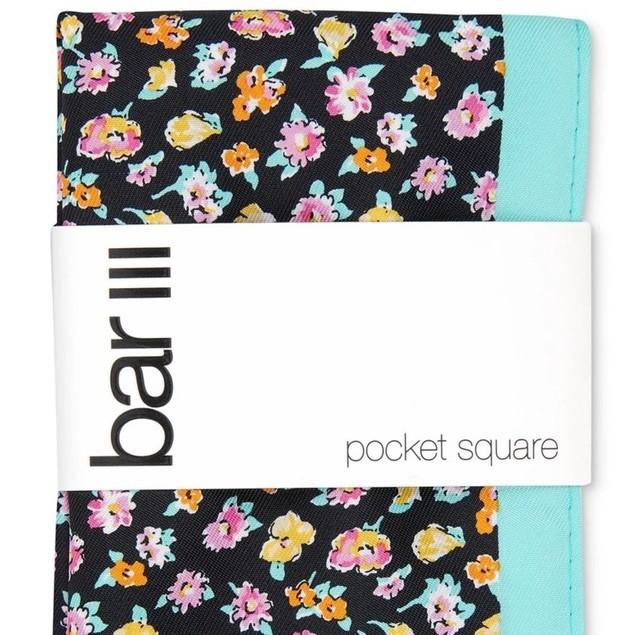 Bar III Men's Newbury Floral Pocket Square Black Size Regular