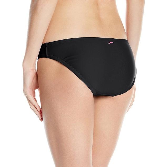 Speedo Women's Active Solid Hipster Bikini Bottom, Black, SZ: Small