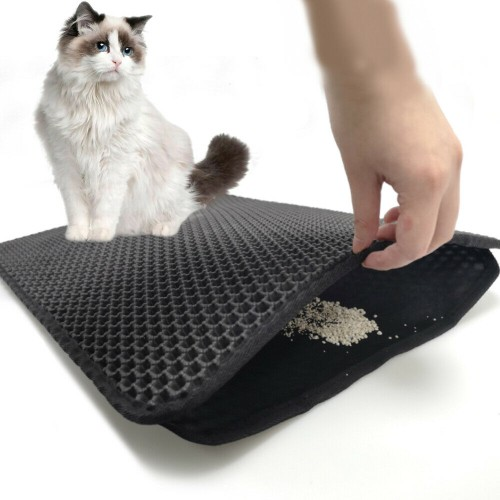 Foldable Cat Litter Mat Double Layer Trapping Mat Urine Proof Easy Clean