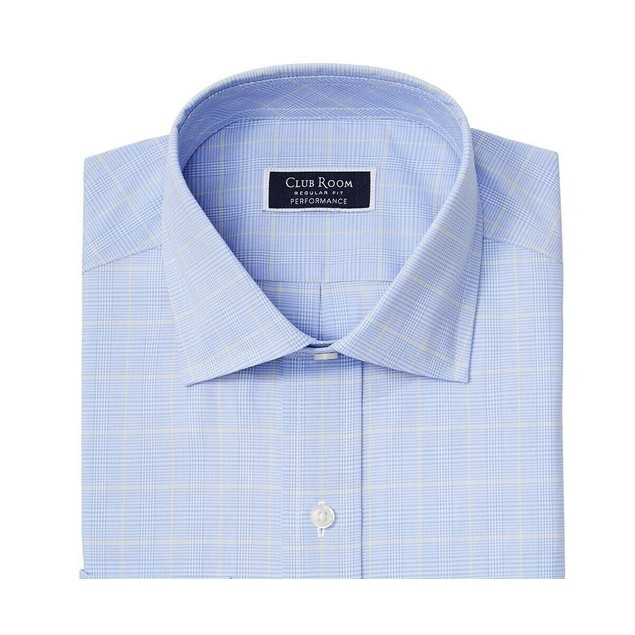 Club Room Men's Stretch Small Glen Plaid Dress Shirt Navy Size 18-34-35