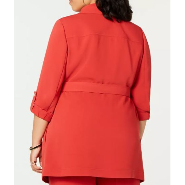 Bar III Women's Trendy Plus Belted Shawl Collar Jacket Wine Size 1X