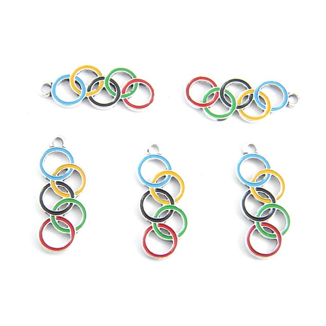 6pcs Enamel Colored Olympic Rings Charms for Jewelry Making