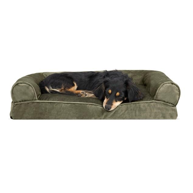 FurHaven Faux Fur & Velvet Pillow Sofa Pet Bed
