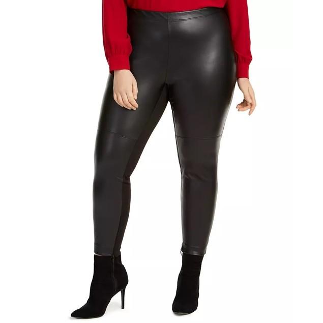 Bar III Women's Trendy Plus Faux Leather Skinny Pants Black Size 2X