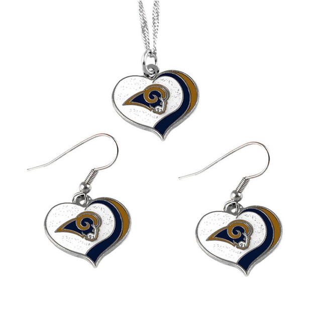 Los Angeles Rams NFL Glitter Heart Necklace and Earring Set Charm Gift