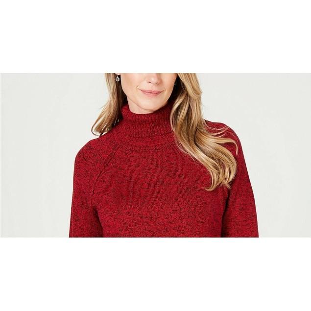 Karen Scott Women's Marled Cotton Turtleneck Sweater Red Size Large