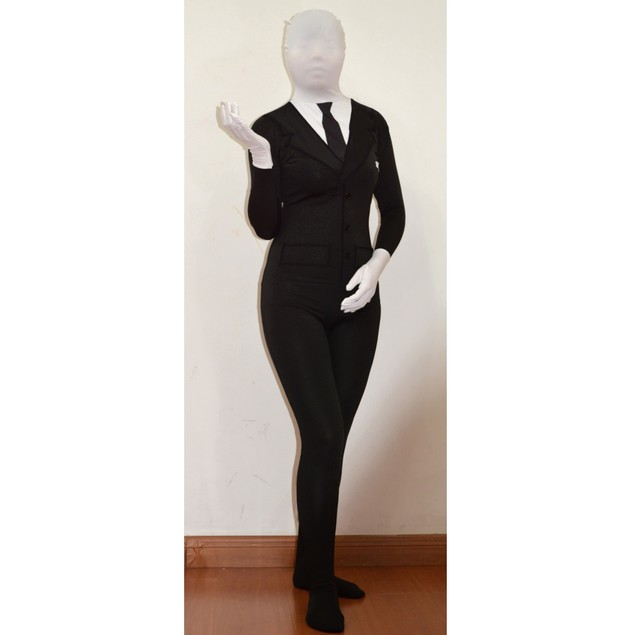 Slenderman Black Suit Youth Spandex Costume