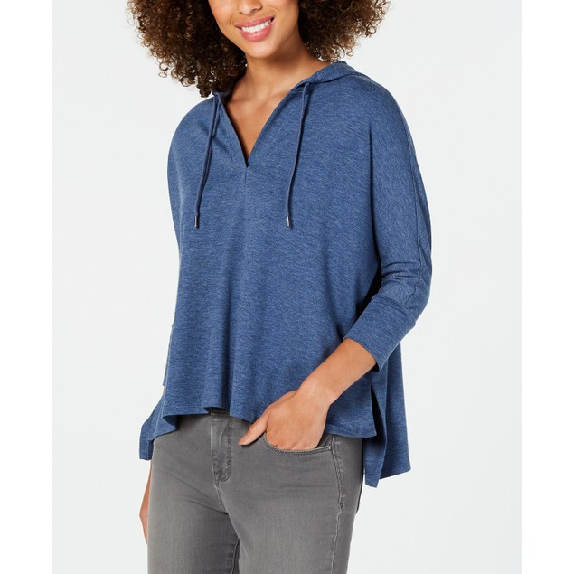 Style & Co Women's Hoodie 3/4-Sleeve Top Blue Size Large