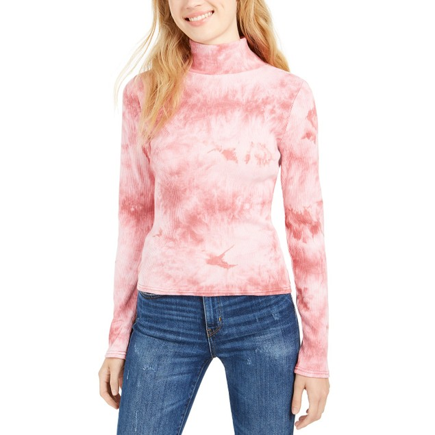 Planet Gold Women's Juniors' Tie-Dye Mock Neck Top Pink Size Extra Large
