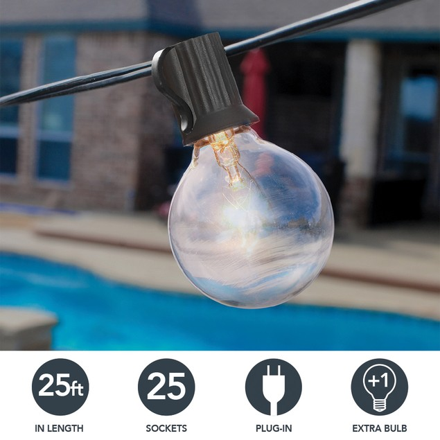 Sterno Home 25-Ft Connectable Clear Globe Outdoor String Lights G40 Bulbs on Black Cord – For Backyard, Weddings, Patio, Porch, Tents, and more
