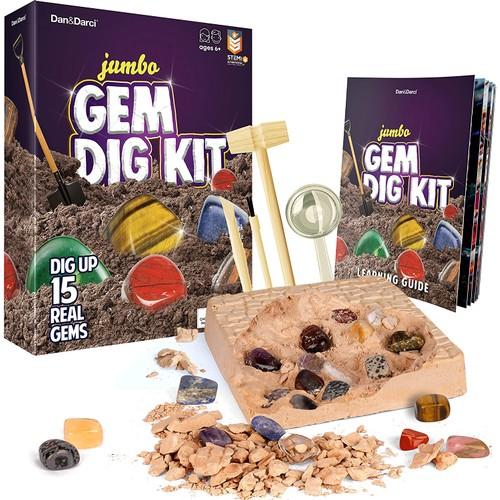 Mega Gem Dig Kit - Dig up 15 Real Gemstones - Great Science kit, Gemology, Mining Gift for Kids